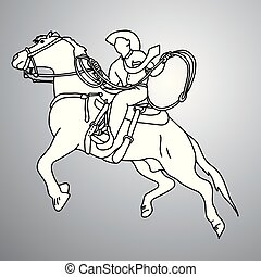 businessman on bucking horse running with lasso vector illustration doodle sketch hand drawn with black lines isolated on gray background. Business concept.