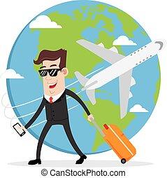 Businessman on business trip