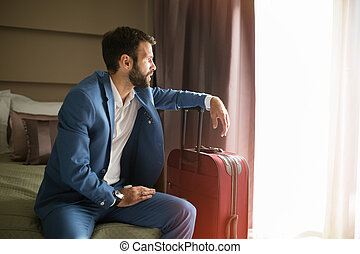 Businessman on  business trip representing company