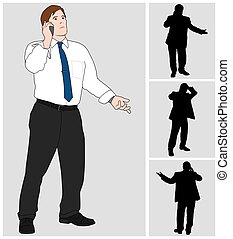 Businessman on Cell 4 - Business man is talking on his cell...