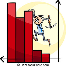 businessman on chart cartoon