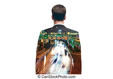 Businessman on city road background