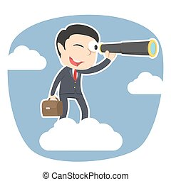 Businessman on clouds looking through monocular