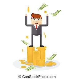 businessman on coins