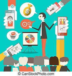 Businessman on Conference or Meeting Vector Illustration with Cell Phones in Hands