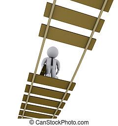Businessman on damaged bridge looking down