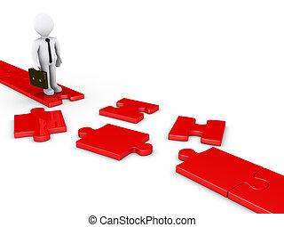 Businessman on damaged puzzle path