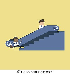 Businessman on escalator and another man climbing the stairs.