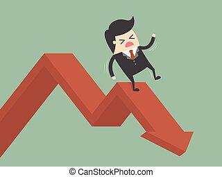 Businessman On Falling Down Chart