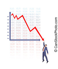 Businessman On Falling Down Chart
