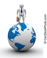 businessman on globe. Isolated 3D image. White background