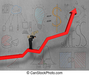 businessman on growing red arrow with business doodles