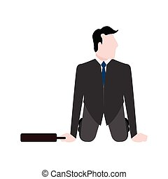 Businessman on his knees with a suitcase
