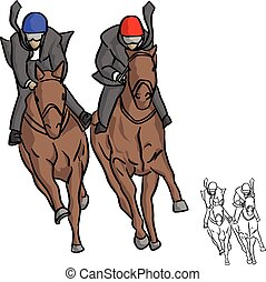 businessman on horse competition vector illustration sketch doodle hand drawn with black lines isolated on white background