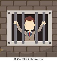 businessman on jail window