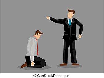 Businessman on Knees Cartoon Vector Illustration - Vector ...