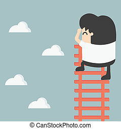 businessman on ladder Looking for success