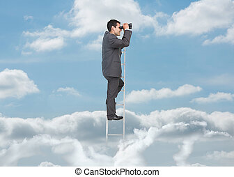 Businessman on ladder over the clouds