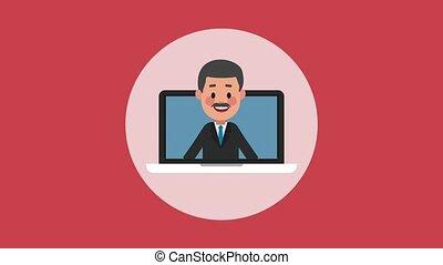 Businessman on laptop HD animation