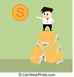 Businessman on light bulb idea to get money.Business concept