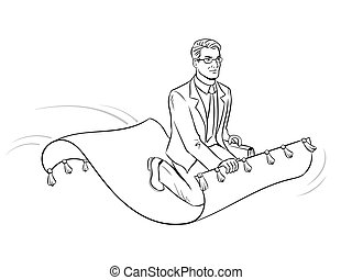 Businessman on magic carpet coloring vector