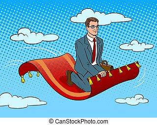 Businessman on magic carpet pop art vector