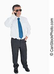 Businessman on mobile phone