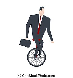Businessman on Monocycle. Boss is balancing mono-bike....