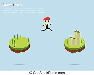 Businessman on Mountain with Money for Success, vector illustration