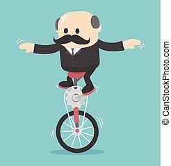 businessman on One wheel bike