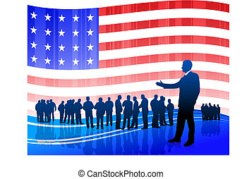 businessman on Patriotic American Flag background