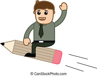 Businessman on Pencil Vector