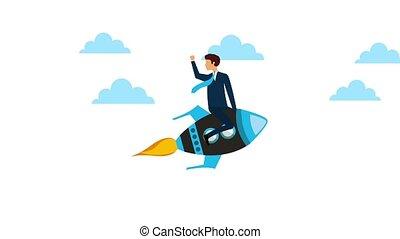 businessman on rocket flying sky animation hd