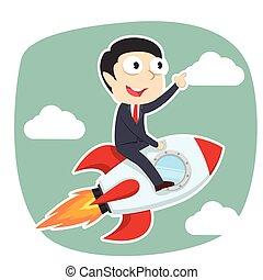 businessman on rocket illustration design