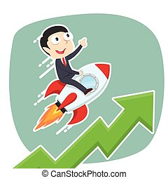 businessman on rocket with raising graph