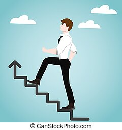 Businessman on stairs. Success concept