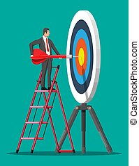 Businessman on stepladder aim arrow to target. Goal setting. Smart goal. Business target concept. Career ladder. Achievement and success. Vector illustration in flat style
