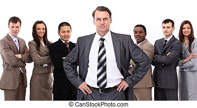 businessman on the background of business team