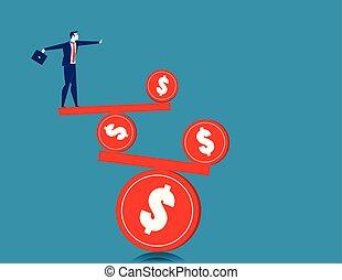 Businessman on the balance