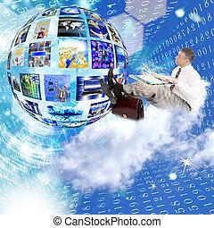 Businessman on the cloud. Internet