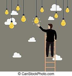Businessman on the ladder catching a light bulb idea