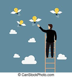 Businessman on the ladder catching a light bulb fly