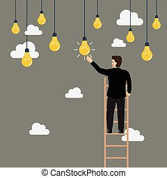 Businessman on the ladder catching a light bulb idea