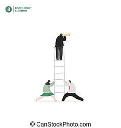 Businessman on the ladder with partner holding on white background illustration vector. Business concept.