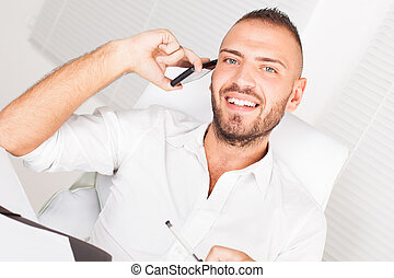 Businessman on the mobile phone