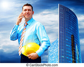 Businessman on the Modern business architecture background
