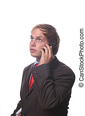 businessman on the phone over a white background