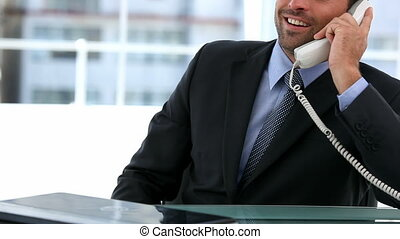 Businessman on the phone sitting at his desk