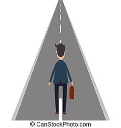 Businessman on the road. Vector illustration in flat design.