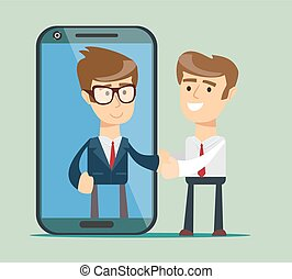 Businessman on the smartphone screen. People shake hands.
